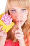 Blonde and a gift box Stock Photo