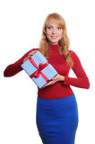 Blonde and a gift box Royalty Free Stock Image