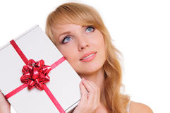 Blonde and a gift box Stock Photography