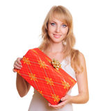 Blonde and a gift box Stock Image