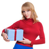 Blonde and a gift box Royalty Free Stock Photo