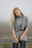 Blonde girl. Blonde model girl with long hair on the farm royalty free stock photo