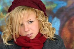 Blonde Girl. Pretty blonde girl with hat and scarf Stock Photography