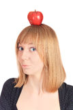 Blonde Girl and Apple Stock Photography