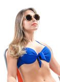 Blonde girl in a bathing suit Royalty Free Stock Photography