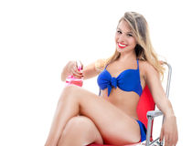 Blonde girl in a bathing suit Royalty Free Stock Images