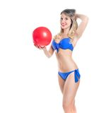 Blonde girl in a bathing suit Royalty Free Stock Photos