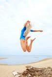 Blonde girl on beach Royalty Free Stock Photos