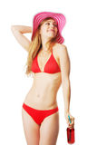 Blonde girl in beachwear Stock Photography