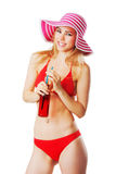 Blonde girl in beachwear smiling Royalty Free Stock Photography