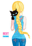 Blonde girl. With a black cat. Best friends. Vector illustration. Art creative Royalty Free Stock Image