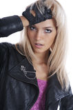 Blonde girl in black leather jacket Royalty Free Stock Image
