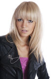 Blonde girl in black leather jacket Stock Photo