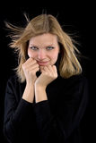 Blonde girl in a black turtleneck Royalty Free Stock Photo