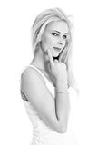 Blonde girl - black and white photography Stock Images