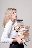 Blonde girl with books Stock Images