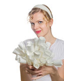 Blonde girl with a bouquet of white paper roses Royalty Free Stock Images