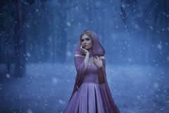 The blonde girl, a bright elf, walks in a gloomy forest covered with fog. It`s cold, the snow breaks. The princess in a. Purple dress and in a cloak with a hood royalty free stock images