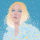 Blonde girl in a camomile jacket stock images