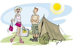 Blonde girl on camp Stock Photo
