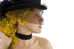 Blonde girl in cap with veil. Blonde sexy girl in cap with veil Royalty Free Stock Photo