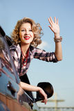 Blonde girl in car royalty free stock photo