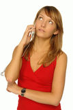 Blonde girl with cell phone. Close up stock image