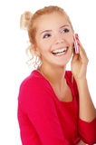 Blonde girl with cellphone Royalty Free Stock Photography