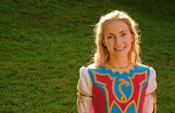 Blonde girl in celtic costume Stock Photography