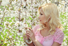 Blonde Girl with Cherry Blossom. Spring Portrait. Royalty Free Stock Image