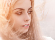 Blonde girl close-up. Royalty Free Stock Photos