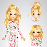 Blonde Girl And Collection Of Different Hairstyle. Vector illustration of beautiful fashionable blonde girl with different hairstyles in a white dress Stock Image