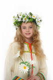 Blonde girl with daisies Royalty Free Stock Image