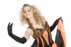 Blonde girl dancing the cancan. Royalty Free Stock Photo