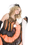 Blonde girl dancing the cancan. Stock Photos