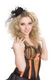 Blonde girl dancing the cancan. Stock Images