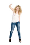 Blonde girl dancing hip hop Royalty Free Stock Image