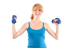 Blonde girl doing fitness, isolated on white Stock Photos