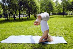 Blonde girl doing yoga in green park Stock Photo