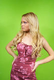 Blonde girl in a dress Stock Photography