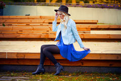 Blonde girl in dress outdoors Royalty Free Stock Photography
