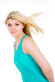 Blonde girl in a dress Royalty Free Stock Image