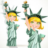 Blonde girl dressed as the Statue of Liberty with  Stock Photography