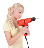 Blonde girl with drill isalated Stock Photography