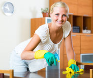 Blonde girl dusting in living room. Happy young housewife in rubber gloves dusting furniture in living room stock photos