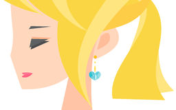 Blonde girl with an earring Stock Photography