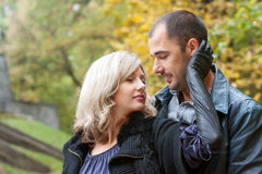 Blonde girl embraces the guy royalty free stock images