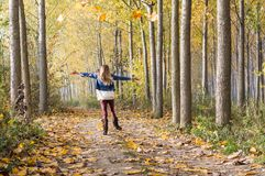 happy jump in the forest Royalty Free Stock Photo