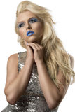 Blonde girl with euro flag make-up Stock Images