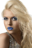Blonde girl with euro flag make-up Royalty Free Stock Image
